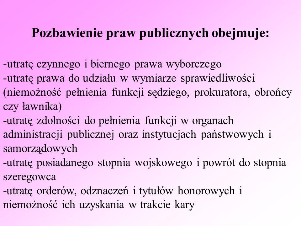 Pozbawienie praw publicznych obejmuje: