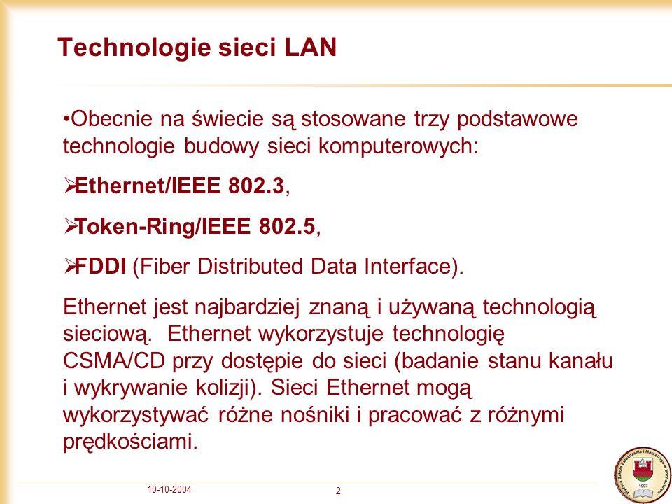 Technologie sieci LAN Obecnie na świecie są stosowane trzy podstawowe technologie budowy sieci komputerowych: