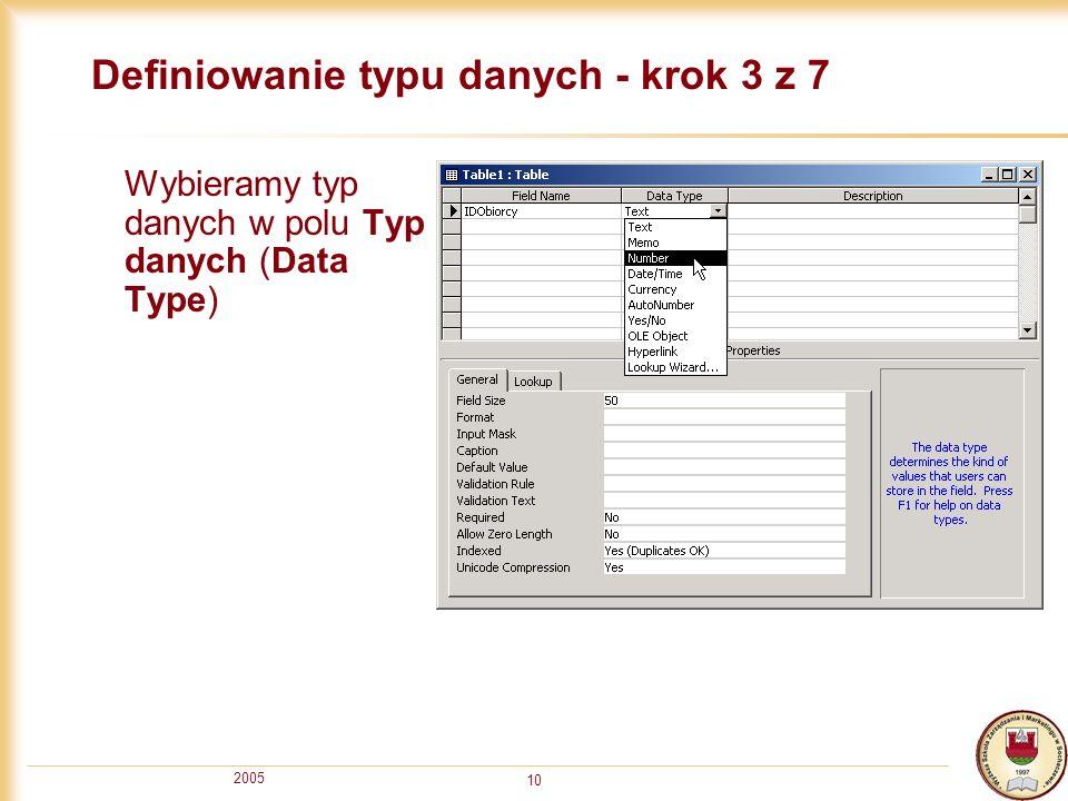 Definiowanie typu danych - krok 3 z 7