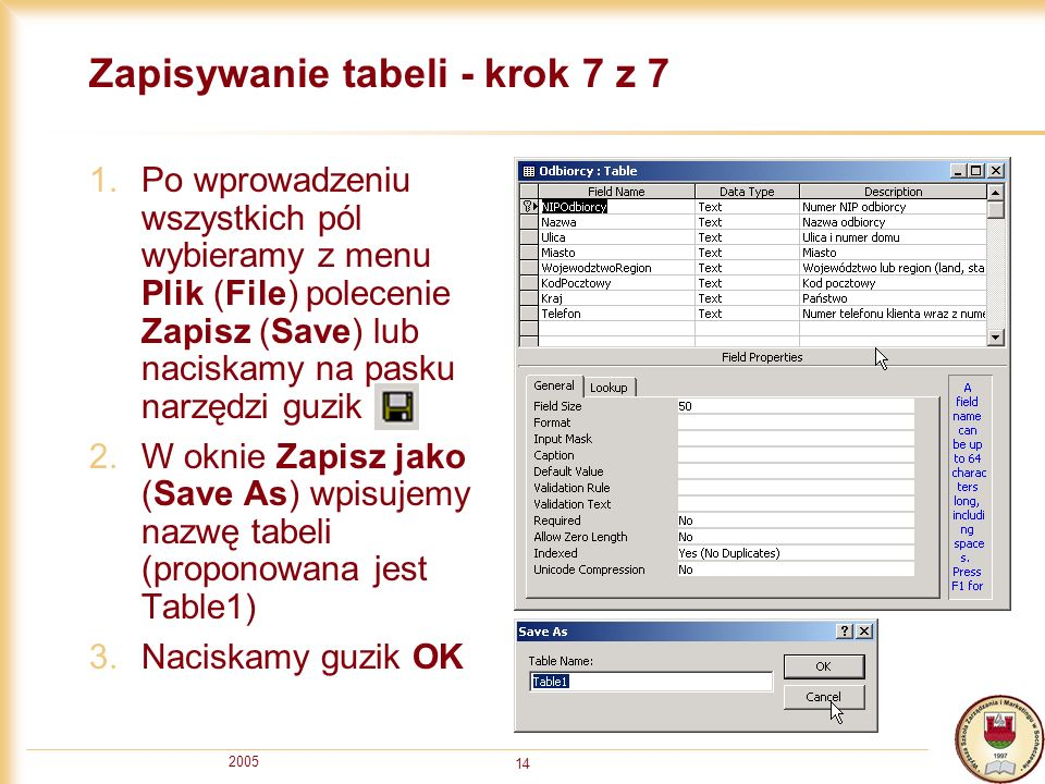 Zapisywanie tabeli - krok 7 z 7