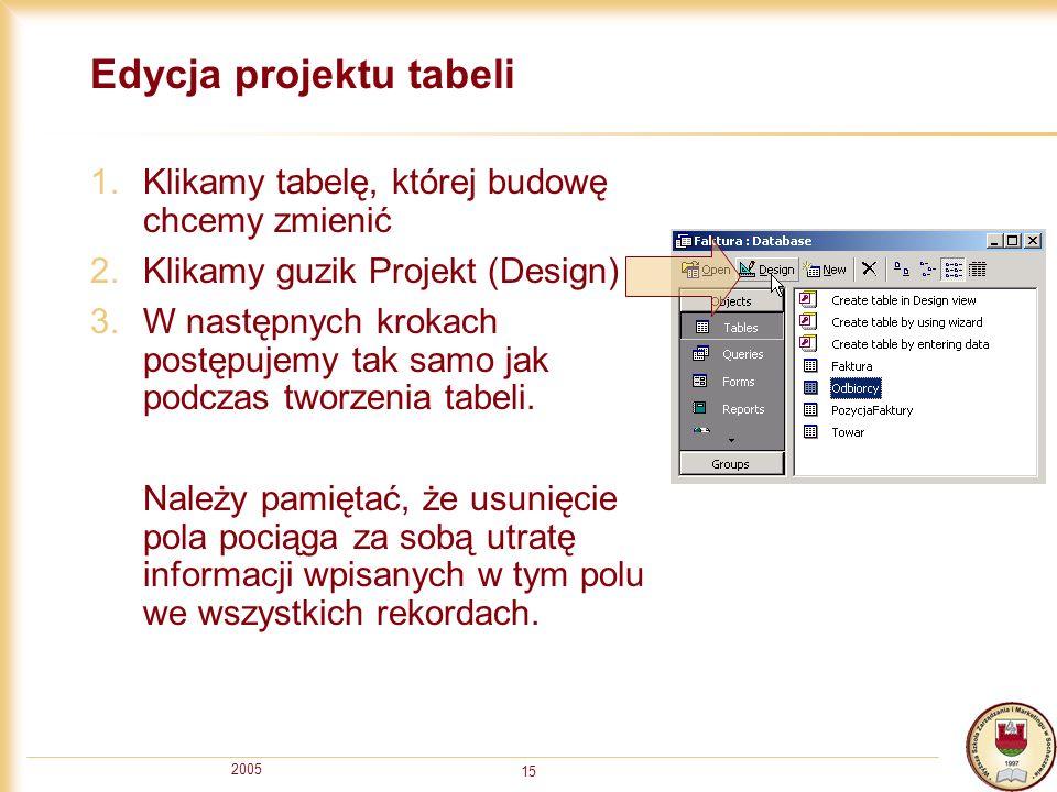 Edycja projektu tabeli