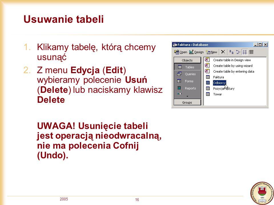 Usuwanie tabeli Klikamy tabelę, którą chcemy usunąć