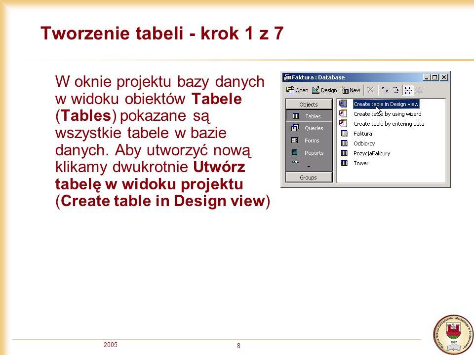 Tworzenie tabeli - krok 1 z 7