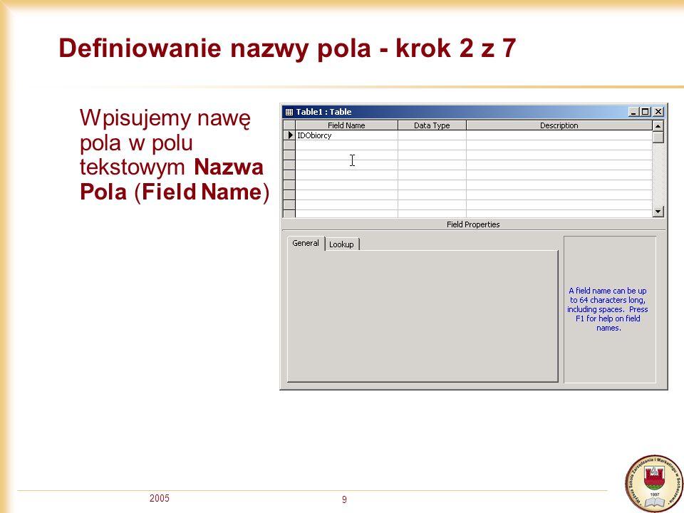 Definiowanie nazwy pola - krok 2 z 7