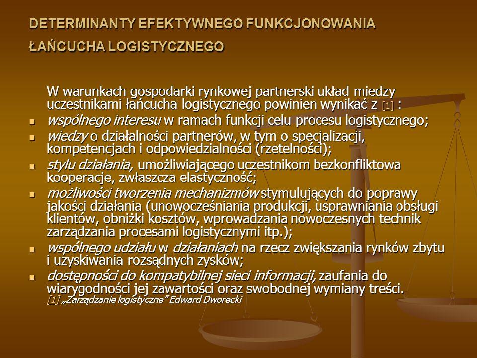 DETERMINANTY EFEKTYWNEGO FUNKCJONOWANIA ŁAŃCUCHA LOGISTYCZNEGO