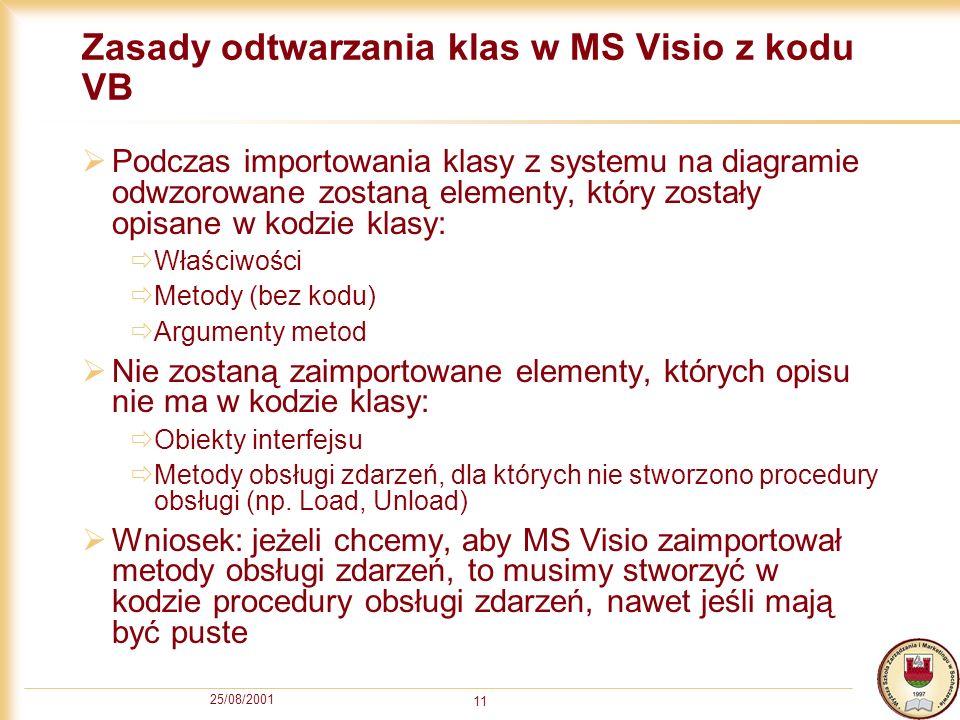Zasady odtwarzania klas w MS Visio z kodu VB