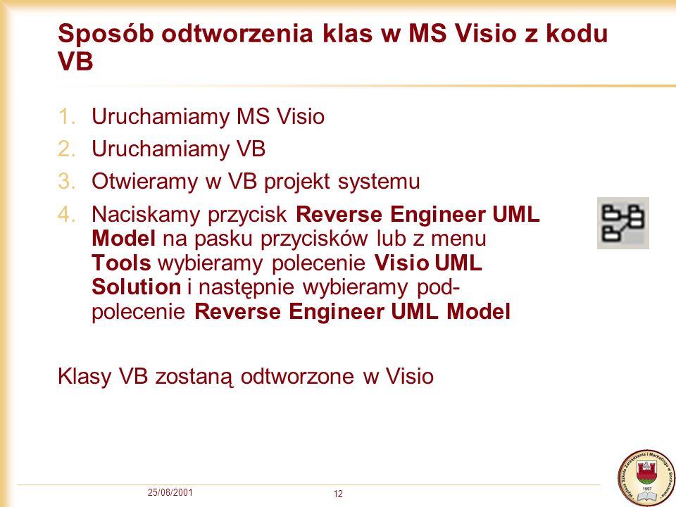 Sposób odtworzenia klas w MS Visio z kodu VB