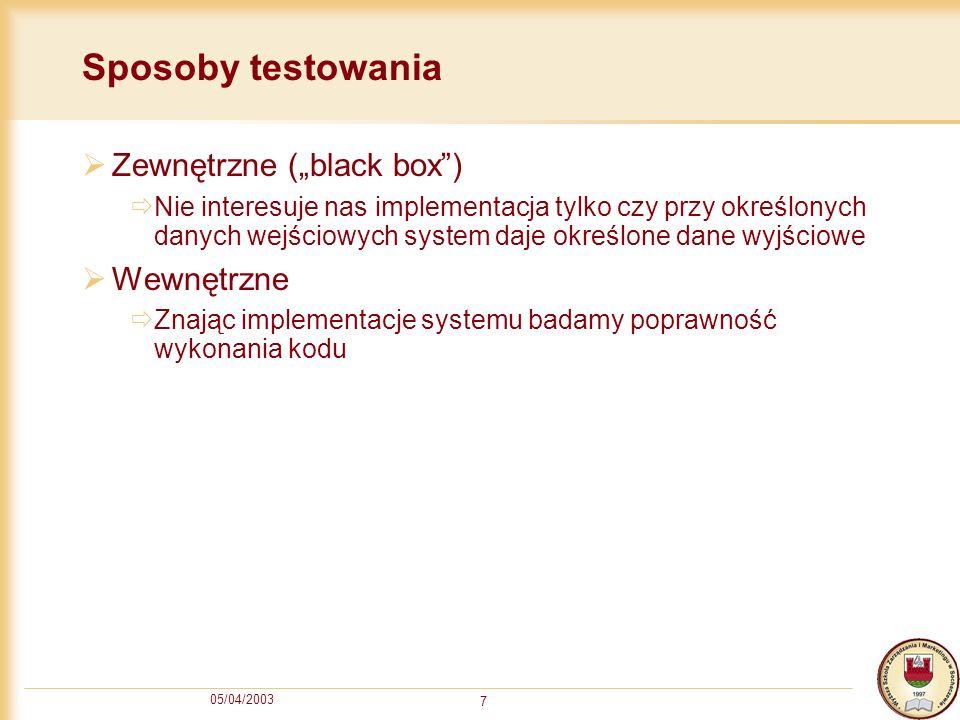 """Sposoby testowania Zewnętrzne (""""black box ) Wewnętrzne"""