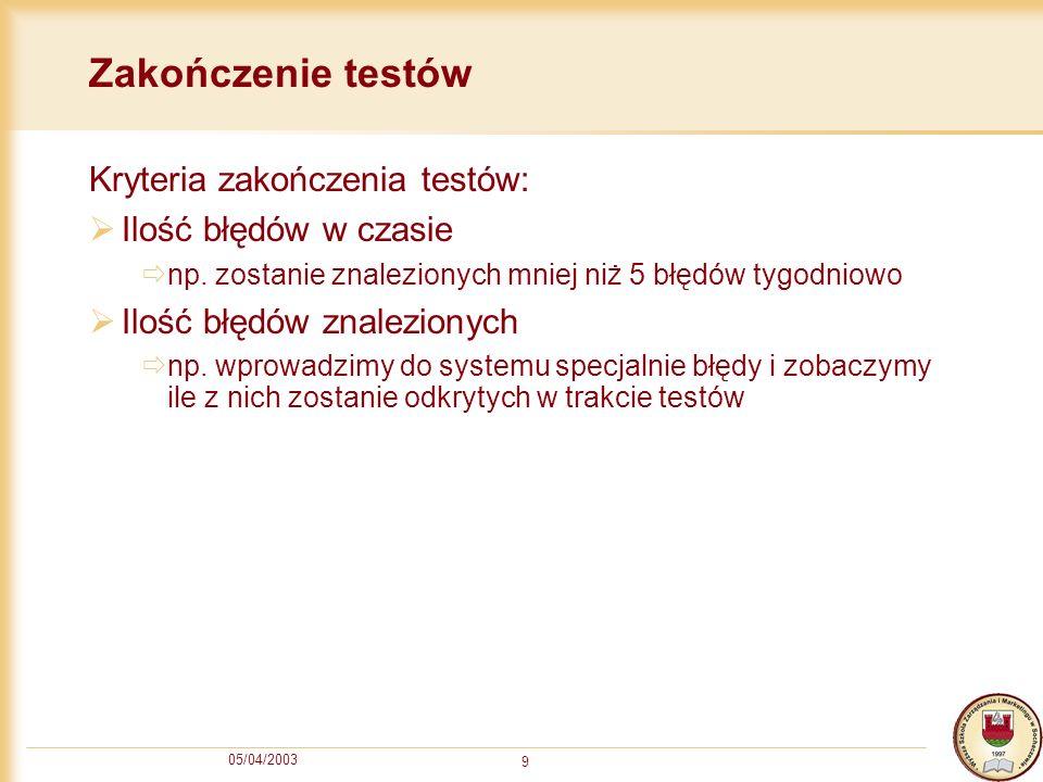 Zakończenie testów Kryteria zakończenia testów: Ilość błędów w czasie