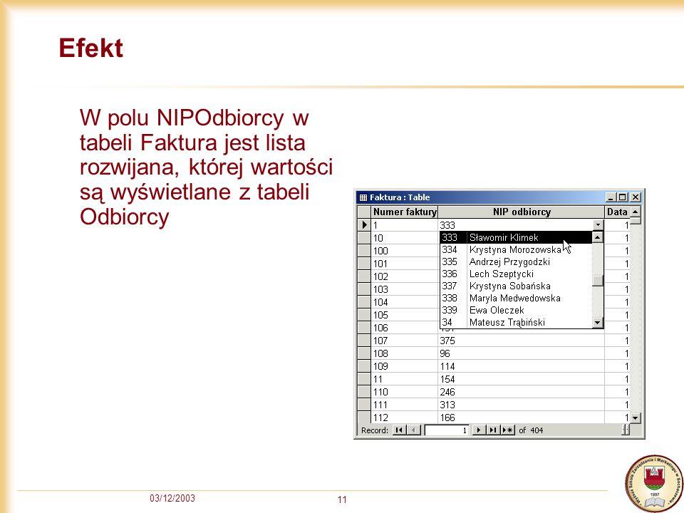 Efekt W polu NIPOdbiorcy w tabeli Faktura jest lista rozwijana, której wartości są wyświetlane z tabeli Odbiorcy.