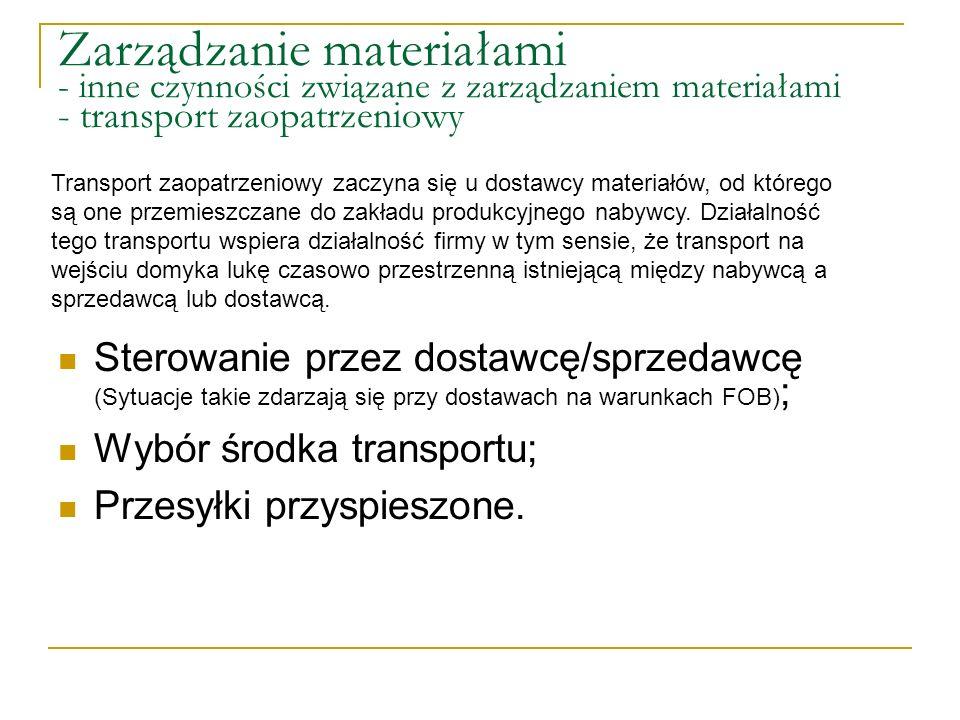 Zarządzanie materiałami - inne czynności związane z zarządzaniem materiałami - transport zaopatrzeniowy