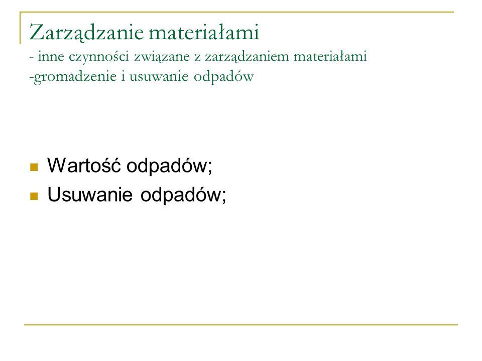 Zarządzanie materiałami - inne czynności związane z zarządzaniem materiałami -gromadzenie i usuwanie odpadów