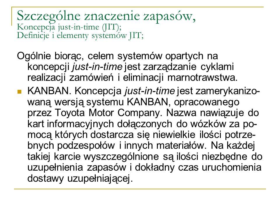 Szczególne znaczenie zapasów, Koncepcja just-in-time (JIT); Definicje i elementy systemów JIT;