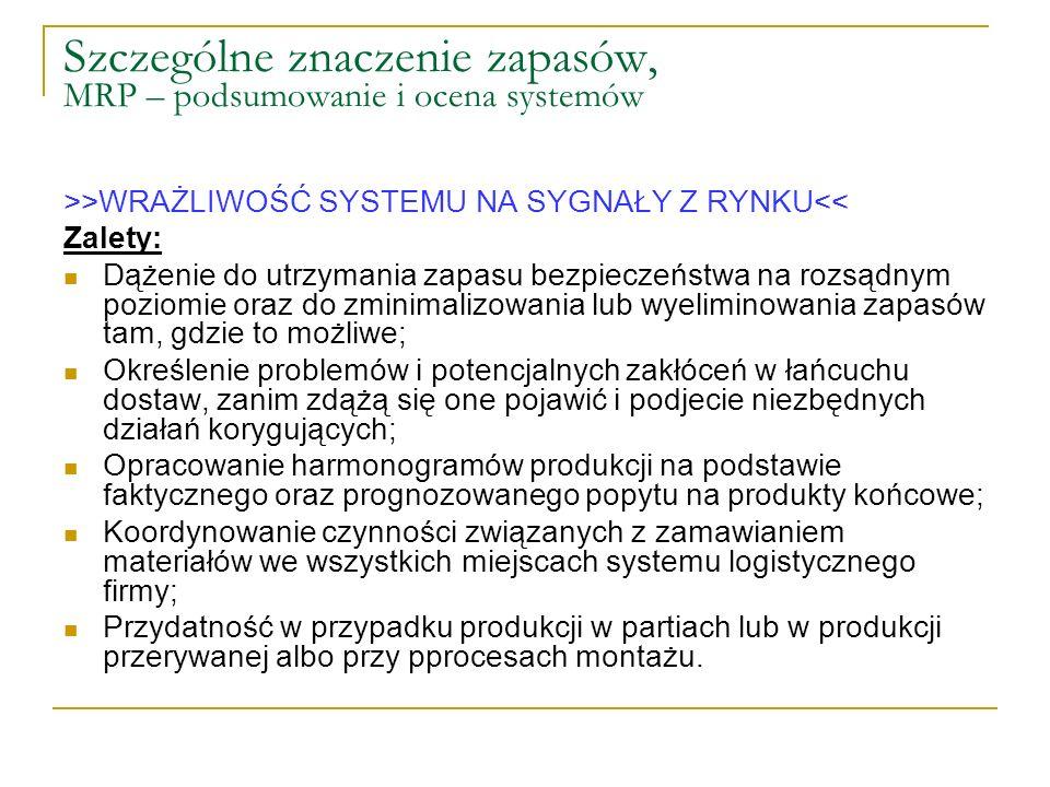 Szczególne znaczenie zapasów, MRP – podsumowanie i ocena systemów