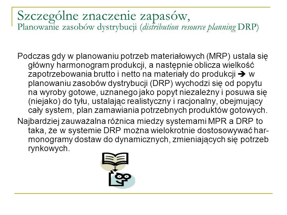 Szczególne znaczenie zapasów, Planowanie zasobów dystrybucji (distribution resource planning DRP)