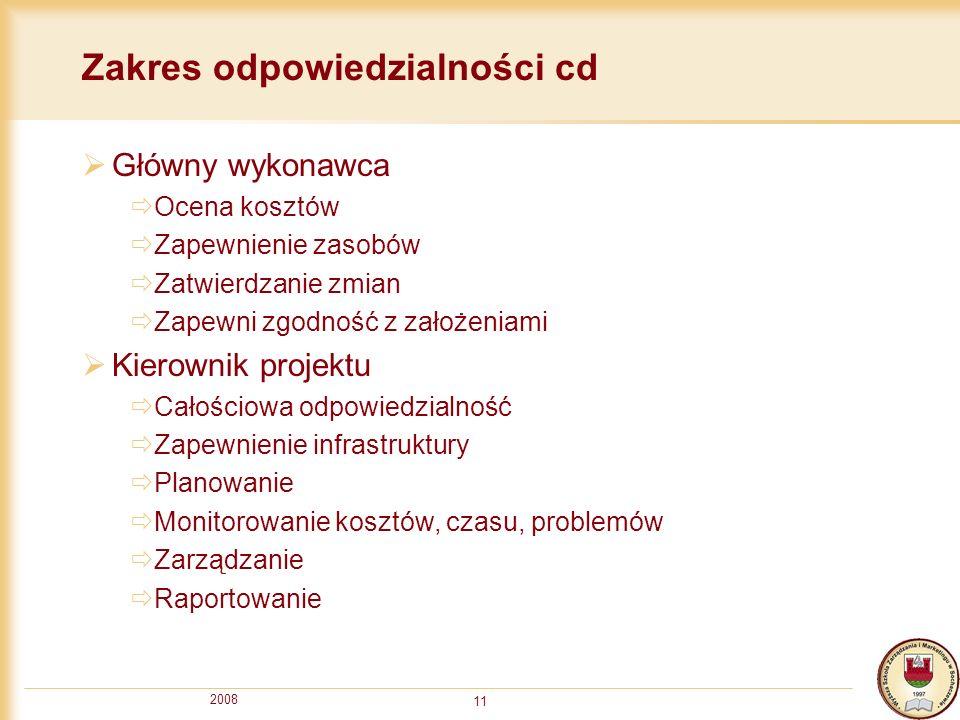 Zakres odpowiedzialności cd