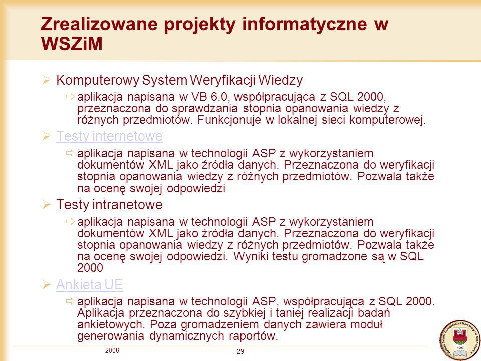 Zrealizowane projekty informatyczne w WSZiM