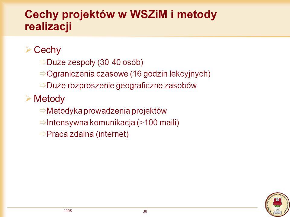 Cechy projektów w WSZiM i metody realizacji