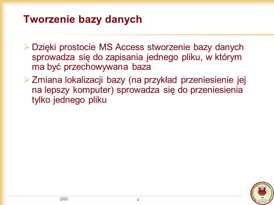 Tworzenie bazy danych Dzięki prostocie MS Access stworzenie bazy danych sprowadza się do zapisania jednego pliku, w którym ma być przechowywana baza.