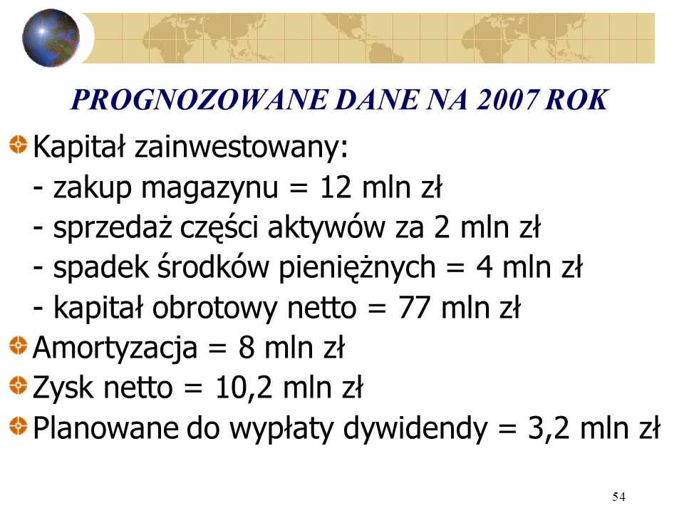 PROGNOZOWANE DANE NA 2007 ROK
