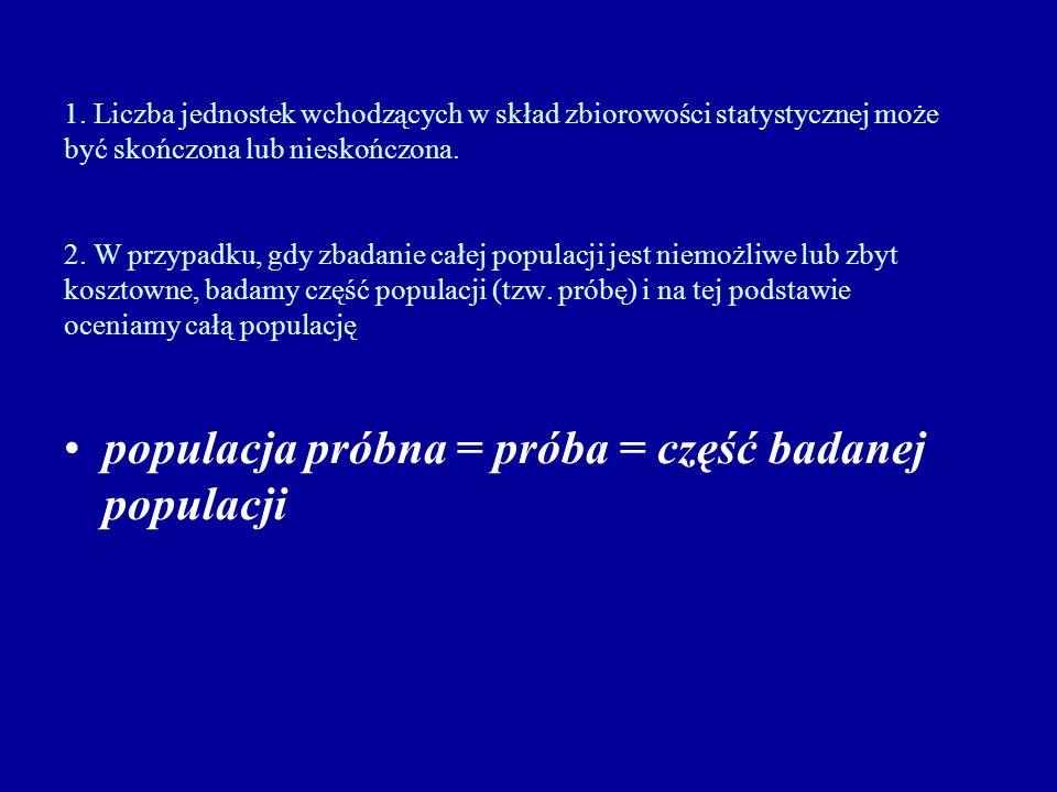 populacja próbna = próba = część badanej populacji