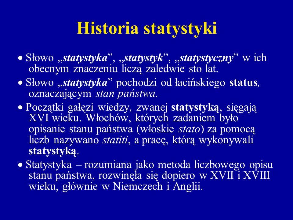 """Historia statystyki  Słowo """"statystyka , """"statystyk , """"statystyczny w ich obecnym znaczeniu liczą zaledwie sto lat."""