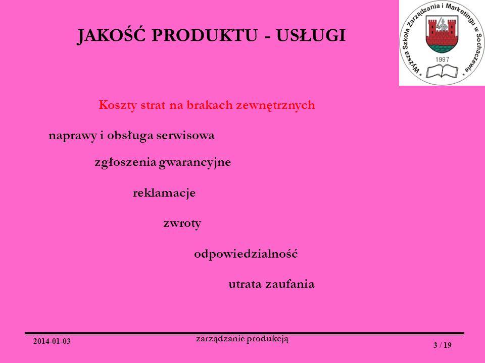 JAKOŚĆ PRODUKTU - USŁUGI zarządzanie produkcją