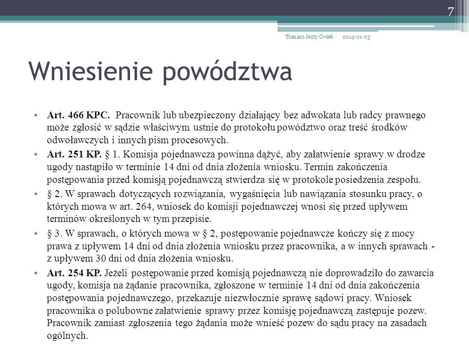 Tomasz Jerzy Ćwiek 2017-03-26. Wniesienie powództwa.