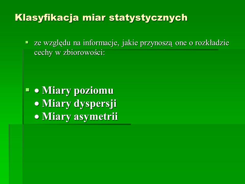 Klasyfikacja miar statystycznych