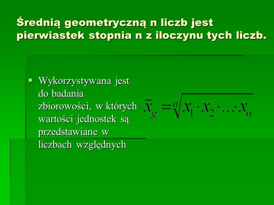 Średnią geometryczną n liczb jest pierwiastek stopnia n z iloczynu tych liczb.
