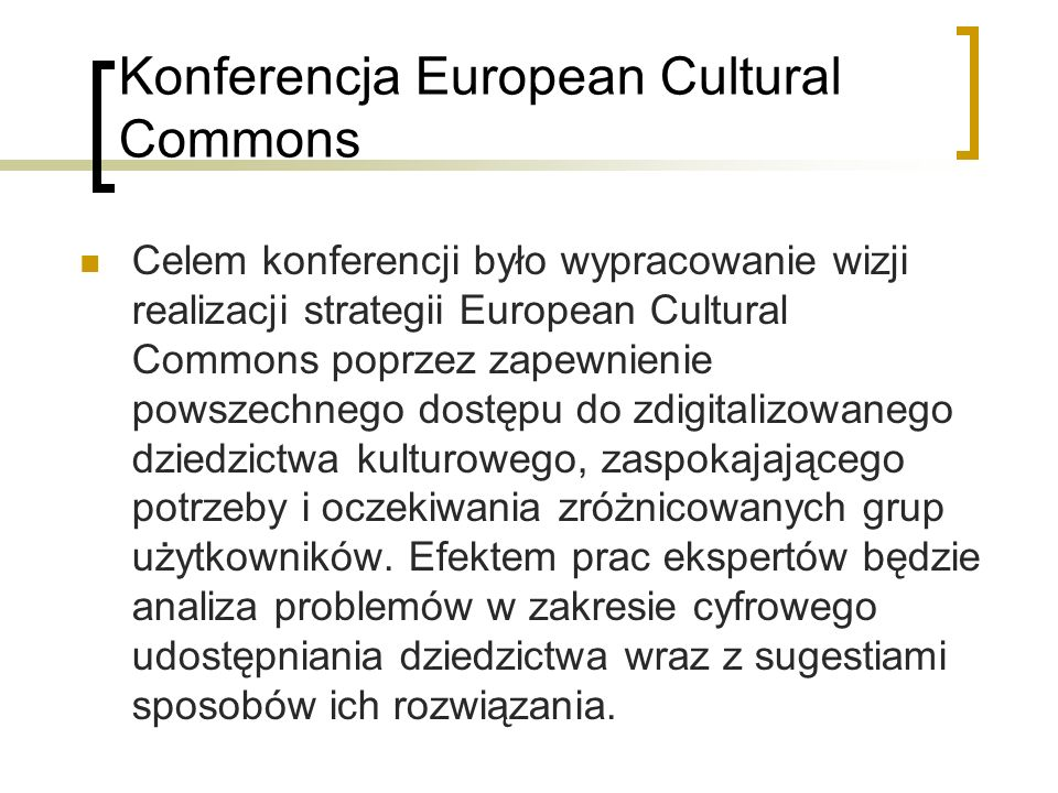 Konferencja European Cultural Commons