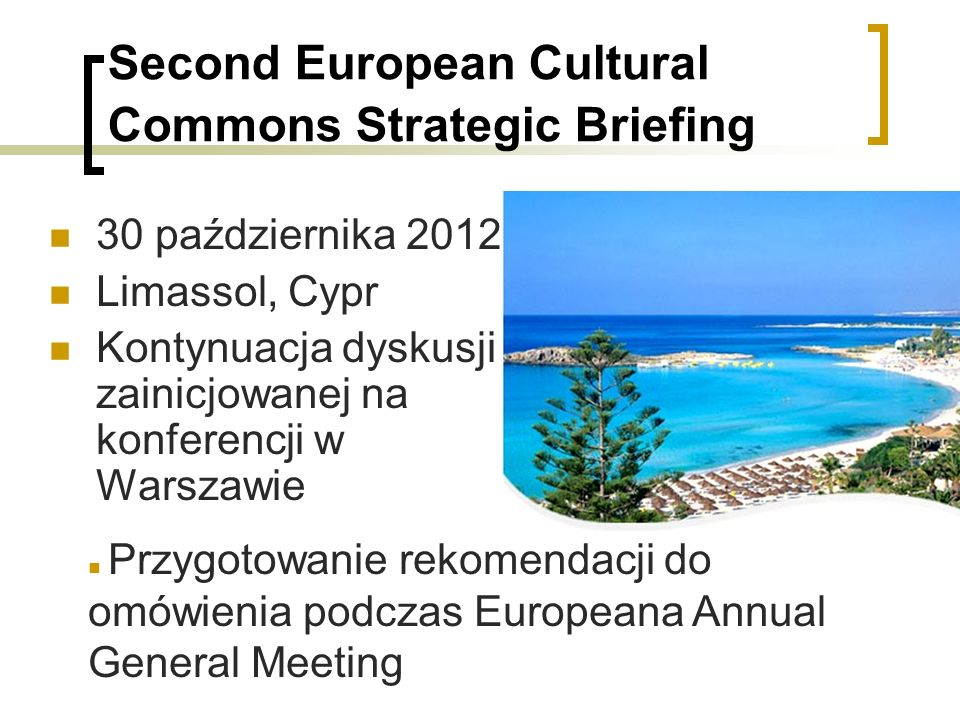 Second European Cultural Commons Strategic Briefing