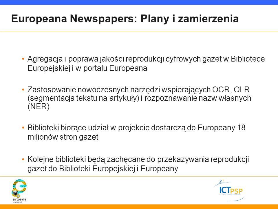 Europeana Newspapers: Plany i zamierzenia