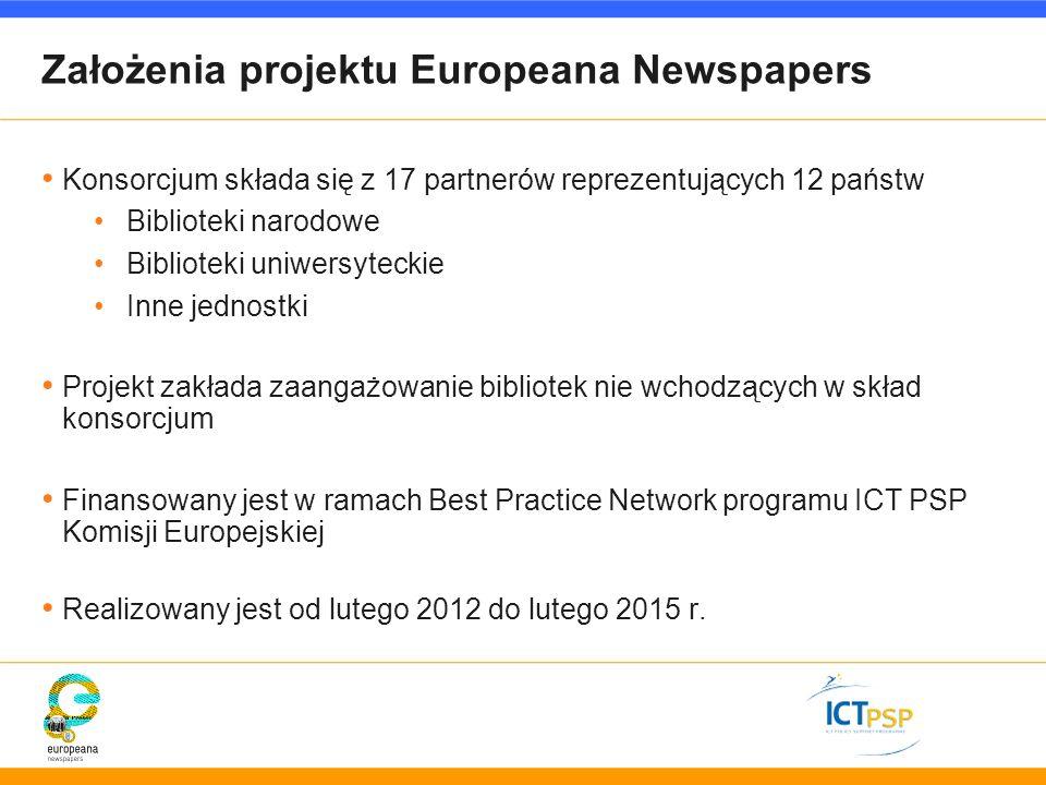 Założenia projektu Europeana Newspapers