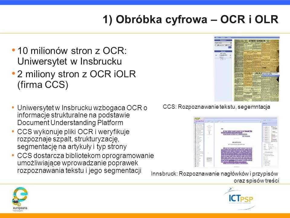 1) Obróbka cyfrowa – OCR i OLR