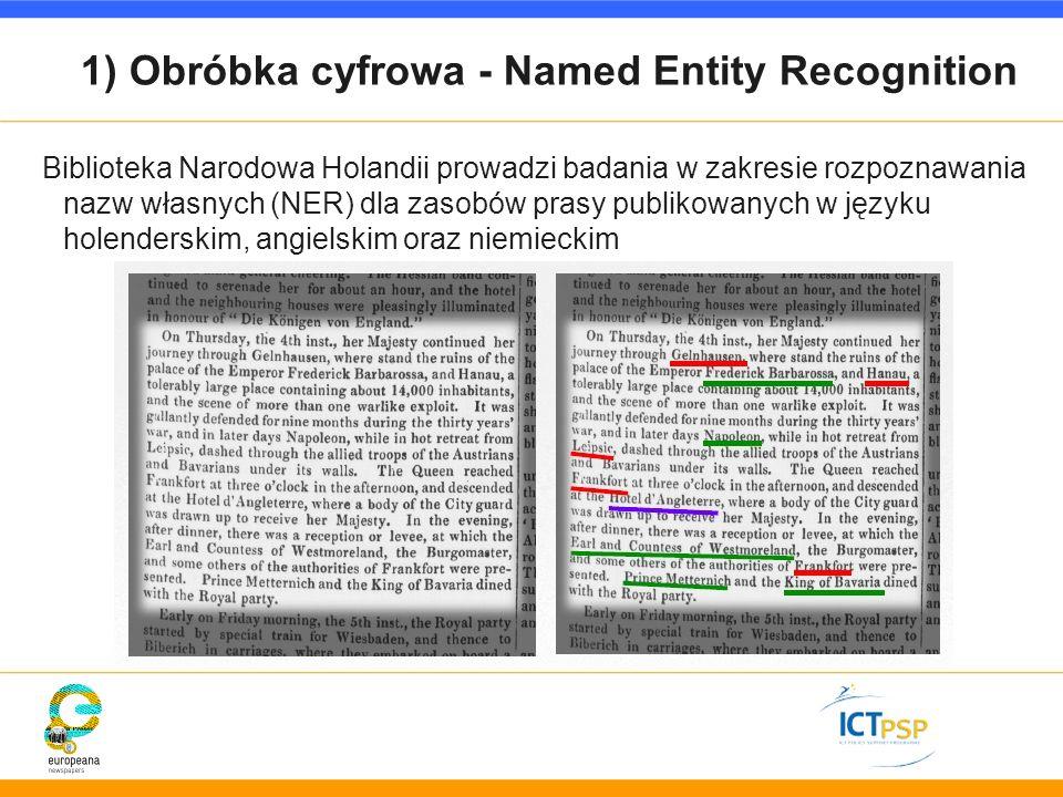 1) Obróbka cyfrowa - Named Entity Recognition