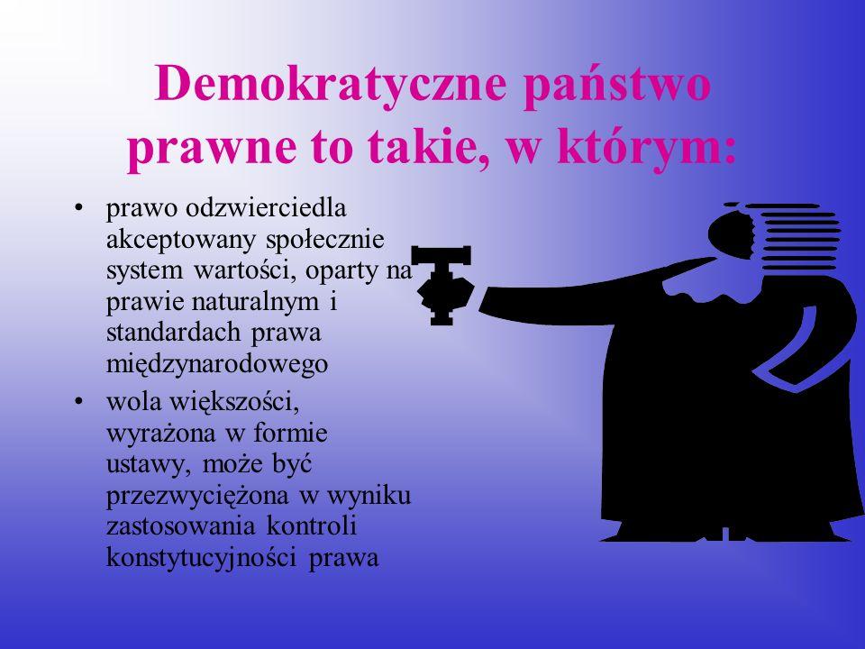 Demokratyczne państwo prawne to takie, w którym:
