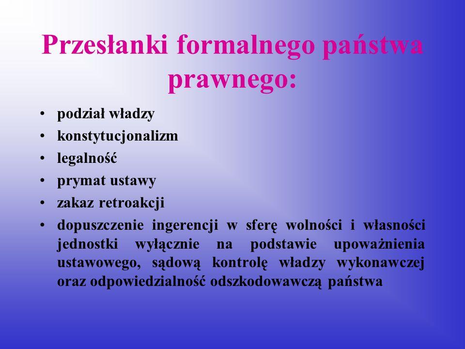 Przesłanki formalnego państwa prawnego: