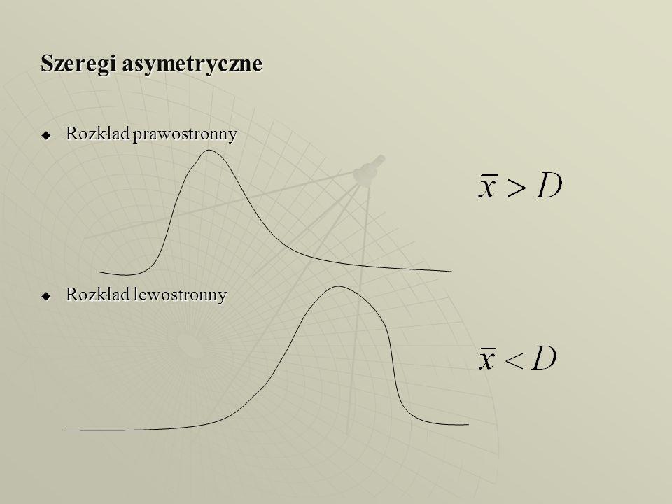 Szeregi asymetryczne Rozkład prawostronny Rozkład lewostronny