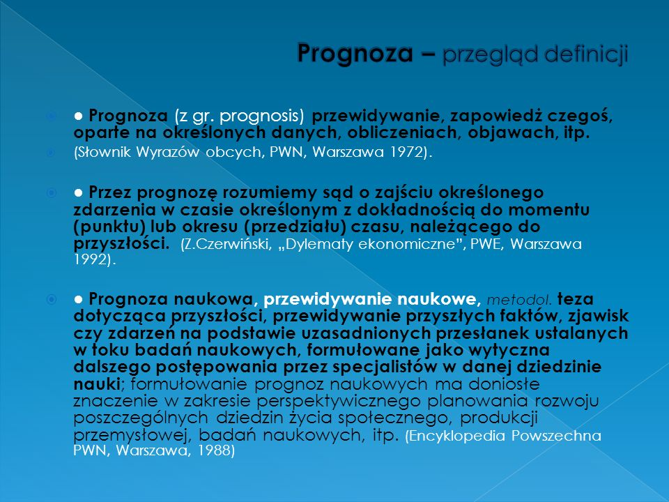 Prognoza – przegląd definicji