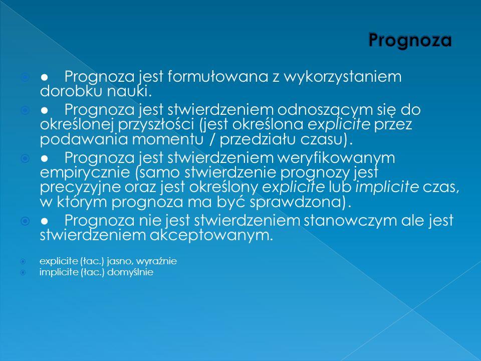 Prognoza ● Prognoza jest formułowana z wykorzystaniem dorobku nauki.