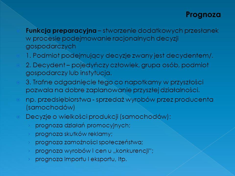 Prognoza Funkcja preparacyjna – stworzenie dodatkowych przesłanek w procesie podejmowanie racjonalnych decyzji gospodarczych.
