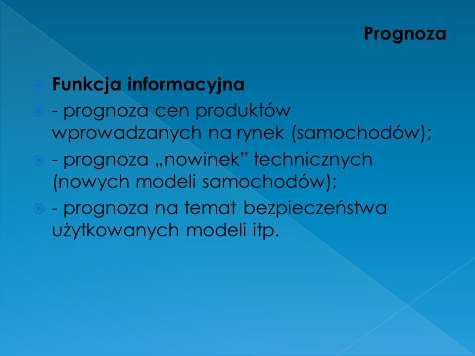 Prognoza Funkcja informacyjna. - prognoza cen produktów wprowadzanych na rynek (samochodów);
