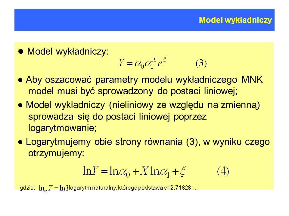Model wykładniczy ● Model wykładniczy: ● Aby oszacować parametry modelu wykładniczego MNK model musi być sprowadzony do postaci liniowej;
