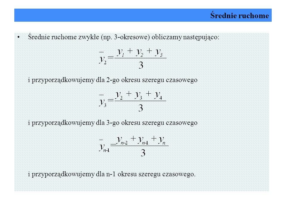 Średnie ruchome Średnie ruchome zwykłe (np. 3-okresowe) obliczamy następująco: i przyporządkowujemy dla 2-go okresu szeregu czasowego.
