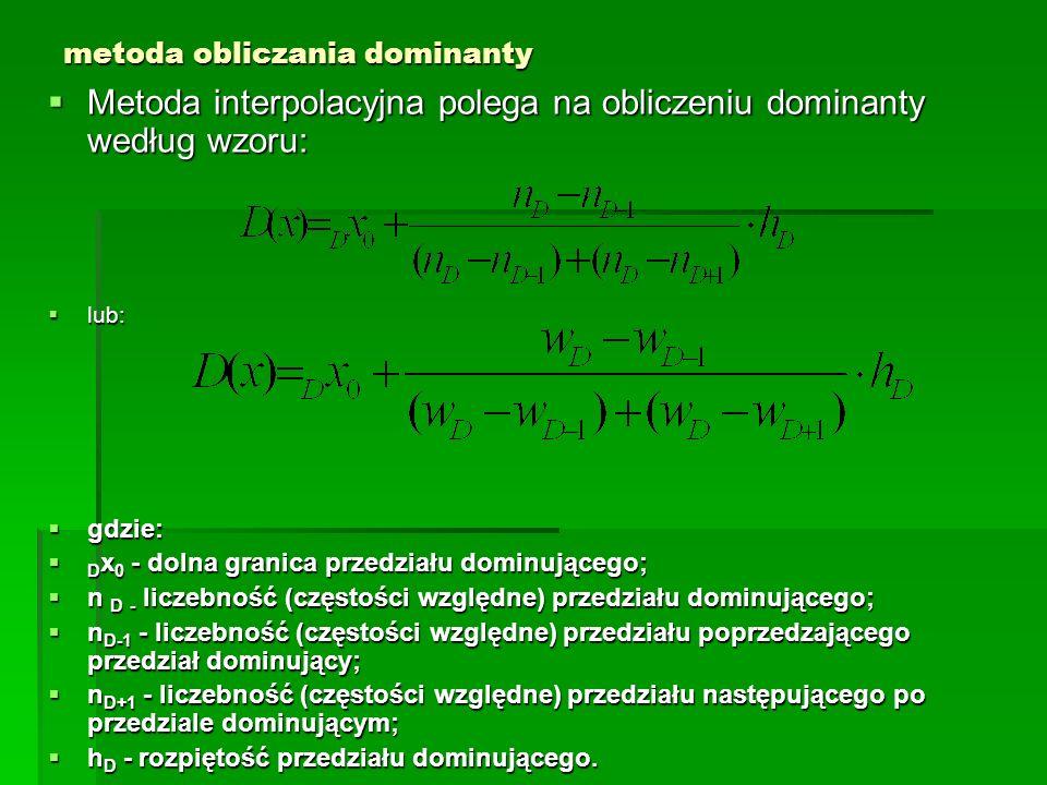 metoda obliczania dominanty