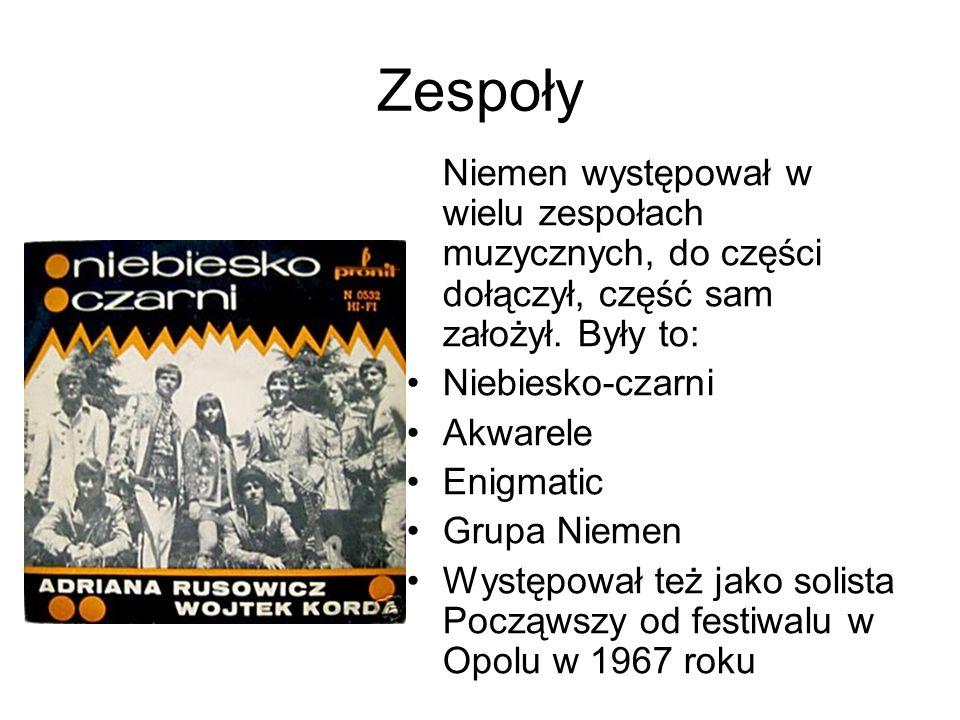 Zespoły Niemen występował w wielu zespołach muzycznych, do części dołączył, część sam założył. Były to: