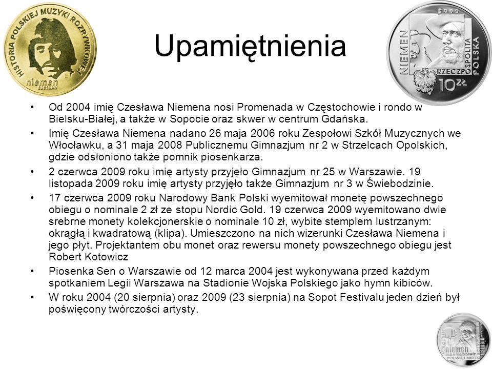 UpamiętnieniaOd 2004 imię Czesława Niemena nosi Promenada w Częstochowie i rondo w Bielsku-Białej, a także w Sopocie oraz skwer w centrum Gdańska.