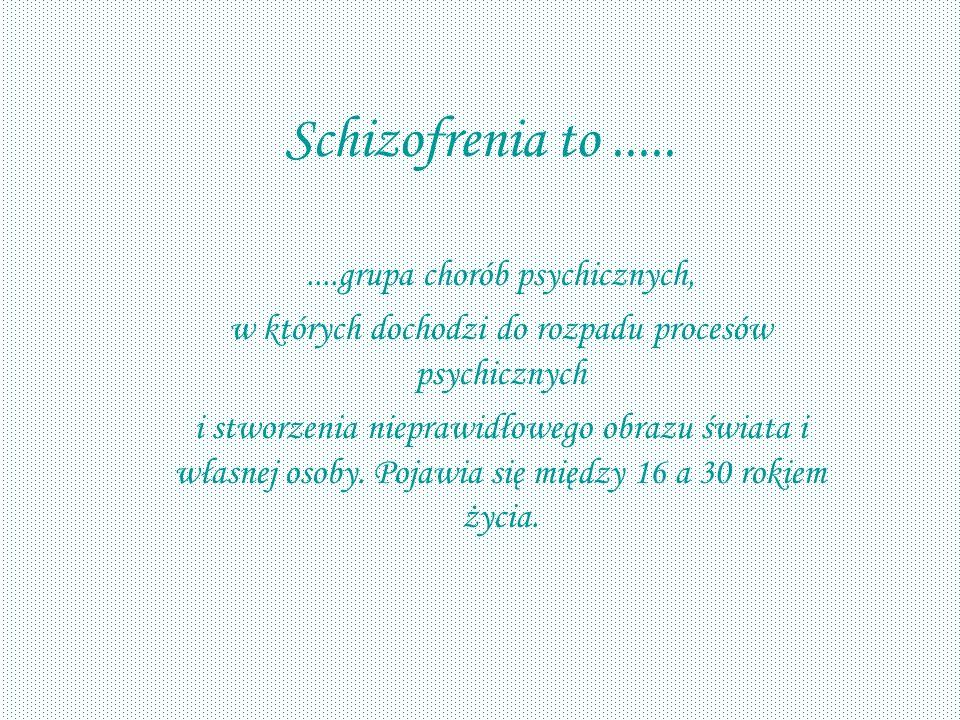 Schizofrenia to ..... ....grupa chorób psychicznych,