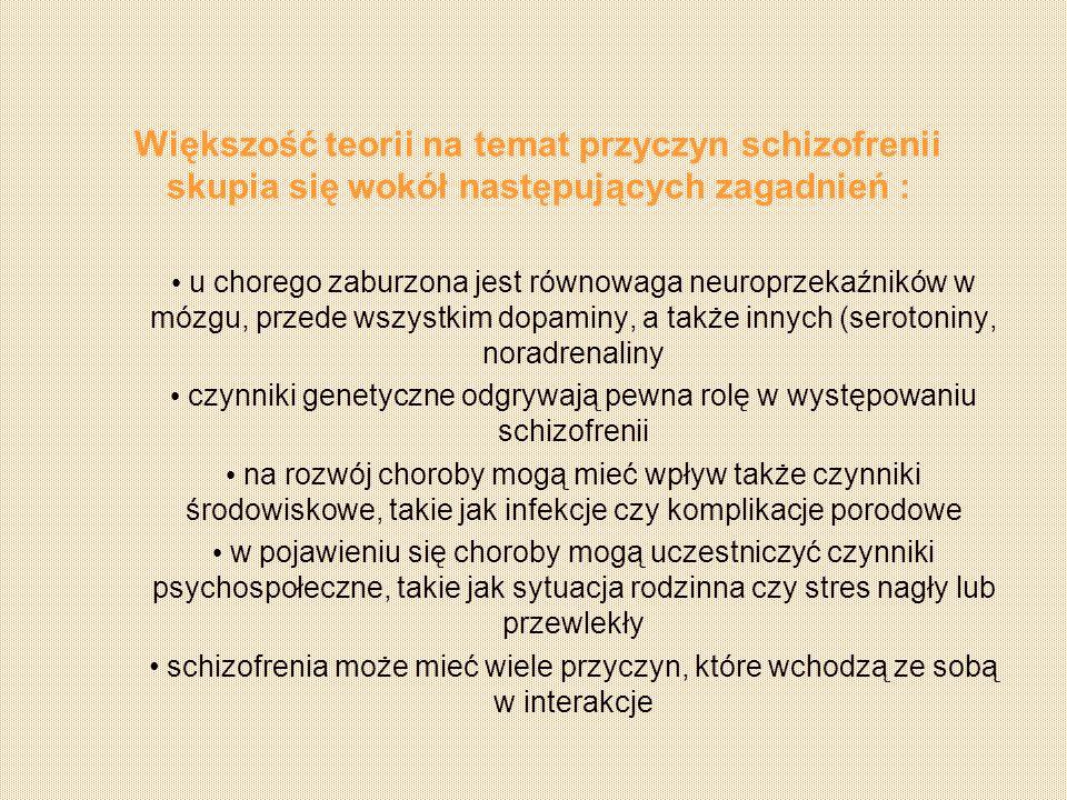 czynniki genetyczne odgrywają pewna rolę w występowaniu schizofrenii